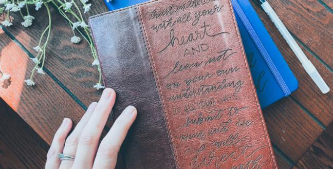 Custom Engraved Bible (NLT) Two-Tone Brown