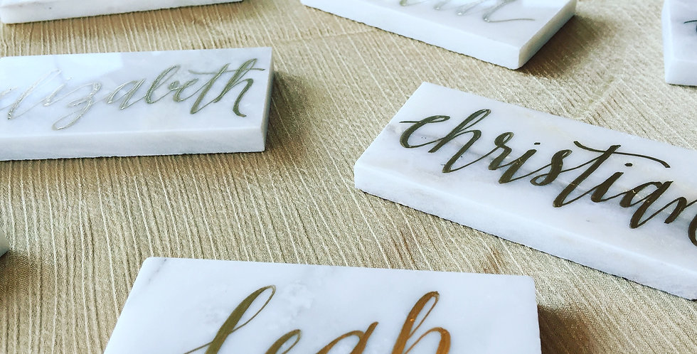 Carrara Marble Tile Place Cards