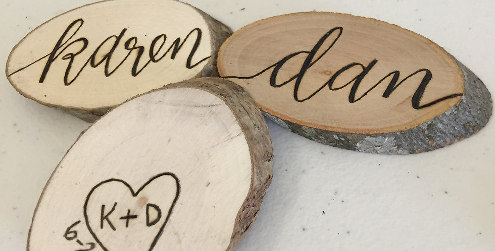 Hand Burned Wood Slice Place Cards