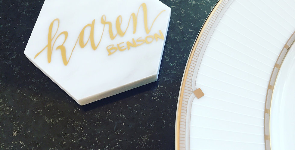 Carrara Marble Hexagon Place Cards