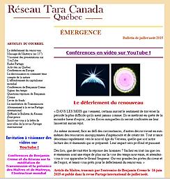 Capture d'écran de l'Infolettre de Partage International Canada