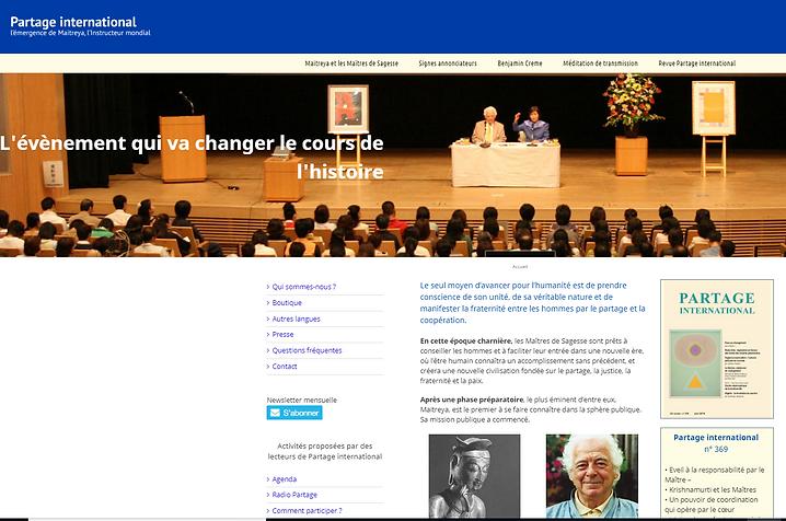 Capture d'écran du site Partage International