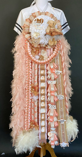 Rose gold and burlap homecoming mum