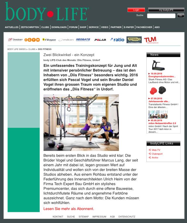 body LIFE-Club des Monats: Diis Fitness, Urdorf