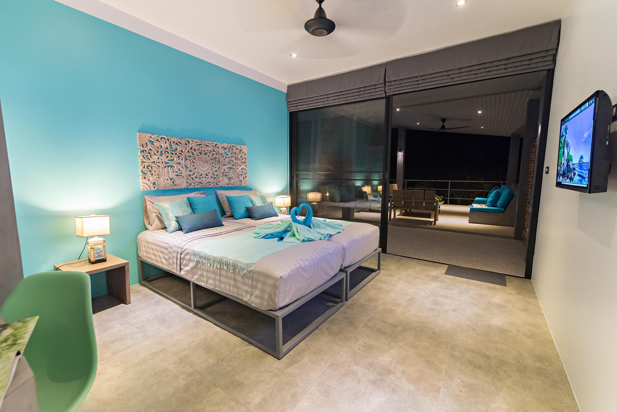 Lagoon blue bedroom n°4 Baan Sawadee villa Koh Samui