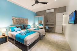 Lagoon blue bedroom -Twin bed