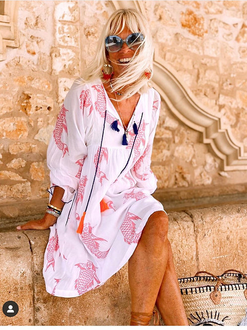 Place du Soleil Kleid White Pink Koi