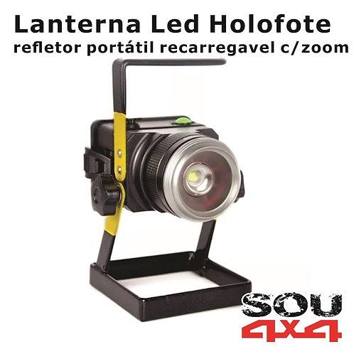 Lanterna LED Holofote - recarreg c/zoom