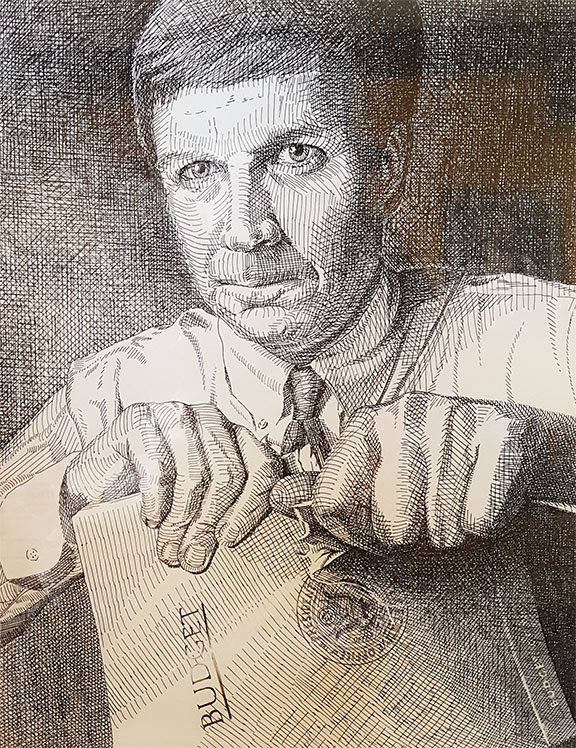 john kasich ink drawing for Artist Bob w