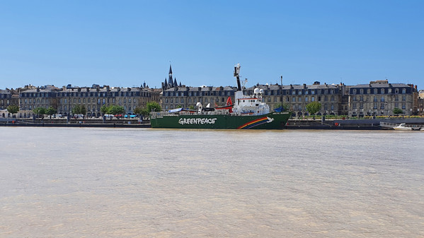 Greenpeace boat docked on the left bank