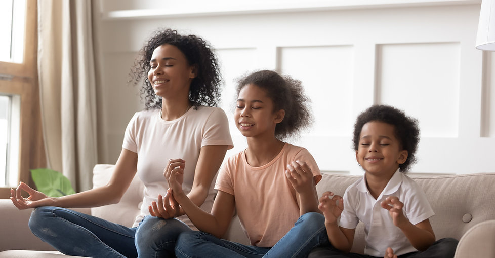 Family doing mindfulness practice together