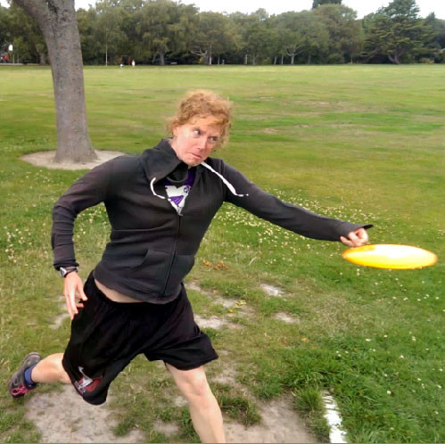 PDGA#61990 Katka Bod'ova's huckface: crushing it with her normal, full-power drive