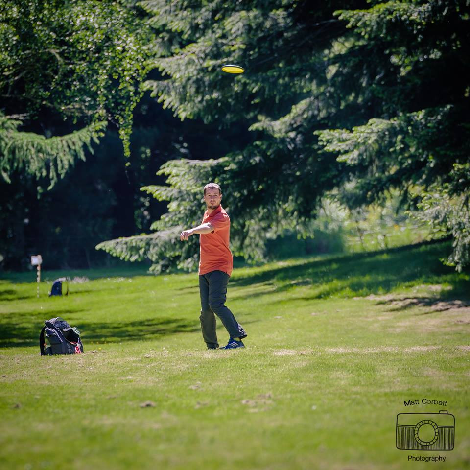 Czech Republic and Christchurch disc golf stalwart Alex Mladenka on the fairway of basket 11
