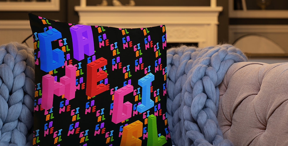 Game Girl Print Pillow