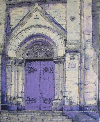 Parvis de l'église Saint Pierre de Montsort