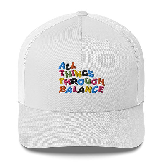 All Things Through Balance Trucker Hat | Multi- Collection | White
