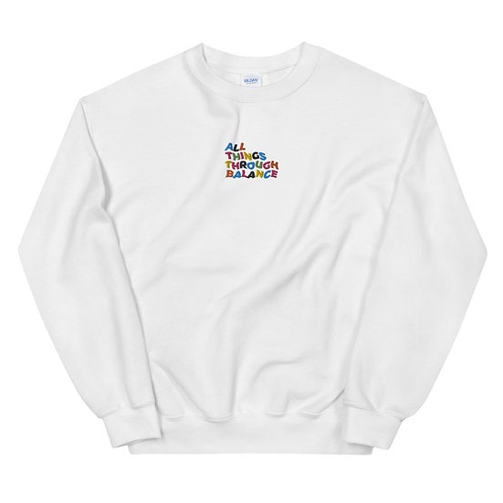 All Things Through Balance Crewneck   Multi- Collection   White