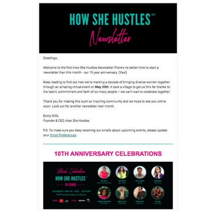 Diverse Women's Networking Group Email Newsletter