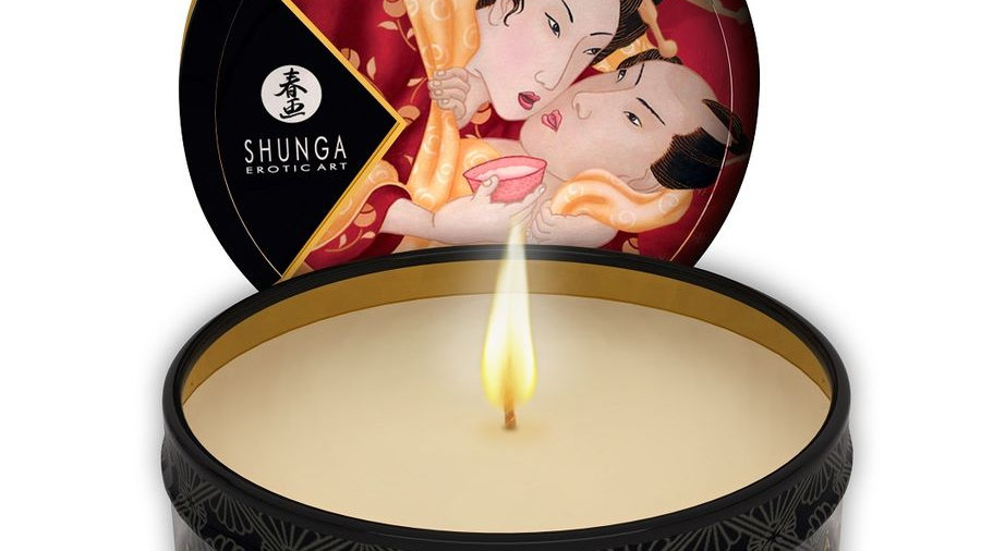 SHUNGA MINI CARESS BY CANDELIGHT VELA MASAJE FRESA Y CHAMPAGNE 30ML