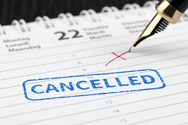 Seal cancelled stamped on paper planner.