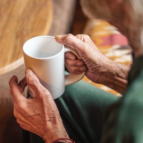CURVD mug in old hands