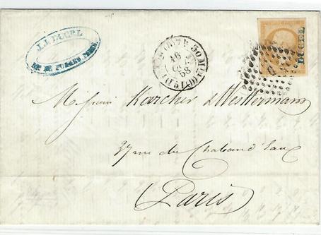 """Nouvelle pub  sur le  recto des timbres """"BOUILLY à Bordeaux"""""""