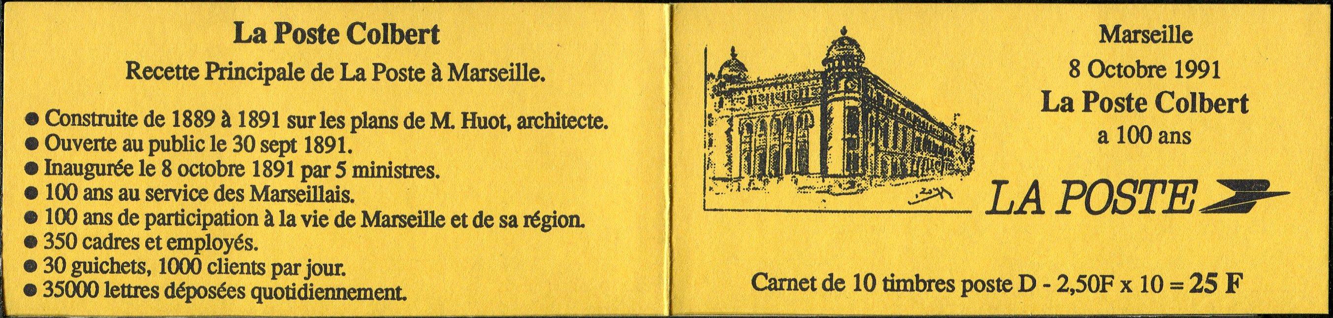 2712-CP1 - ACCP 600 - Carnet de 10 timbres - Tirage de la Poste de Colbert
