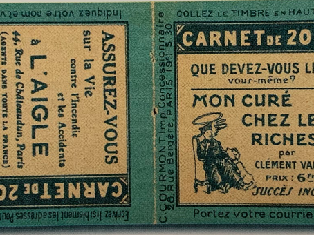 Réaction publicité sur couverture de carnet 1923