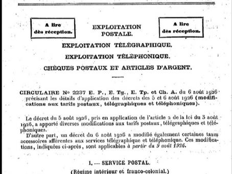 Ecoulement des carnets de T.P. de 0,40 en 1926