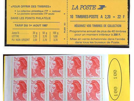 Variété  carnet Liberté 2,20 rouge