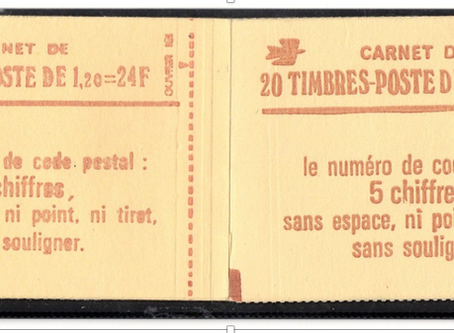 Carnet Sabine à 1,20 F rouge gomme brillante.