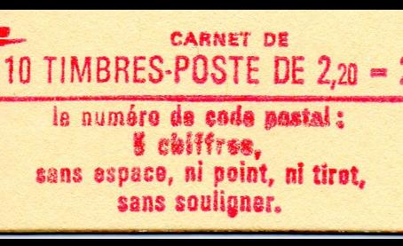 Variété carnet  Liberté 2,20 francs