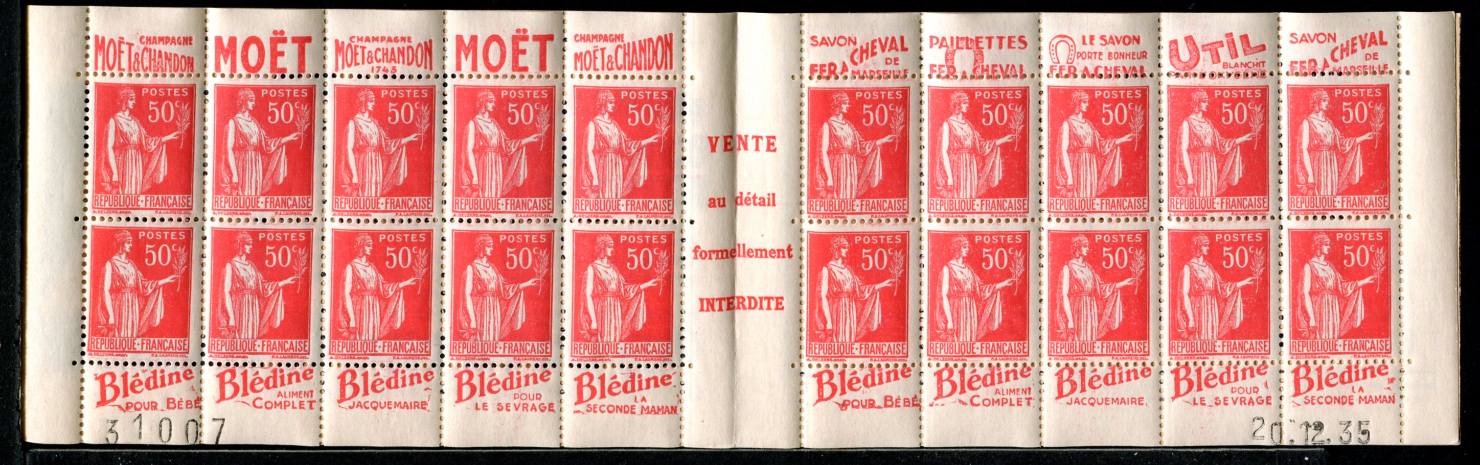 Parution_de_carnets_de_1932_à_1937_avec_le_type_Paix__avec_ses_types__I_-_IIA_-_III_-_IV