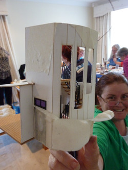 46. Ann with her completed balustrade - look at the satisfaction on her face.JPG