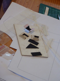 70. fireplace pieces painted and glued - hearthe, firebox, fireplace surrounds.J
