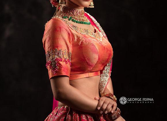 Pink and orange Benaras Lehenga