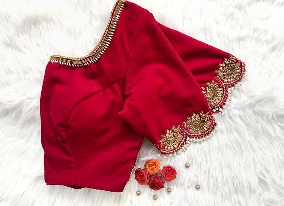 Pink velvet pearl blouse