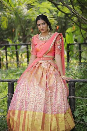 Peach Kanjeevaram silk lehengas