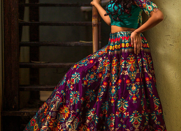 Turquoise and Purple Banaras lehenga
