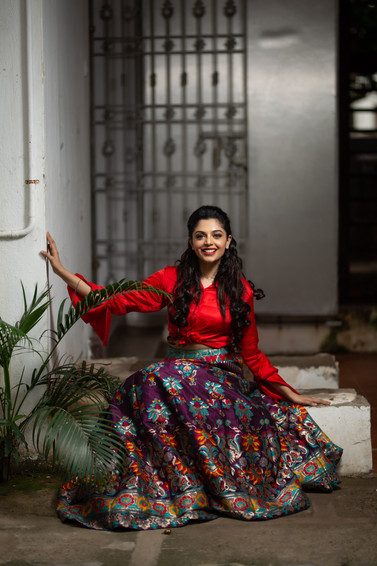 Wine benaras lehenga with a red modal shirt