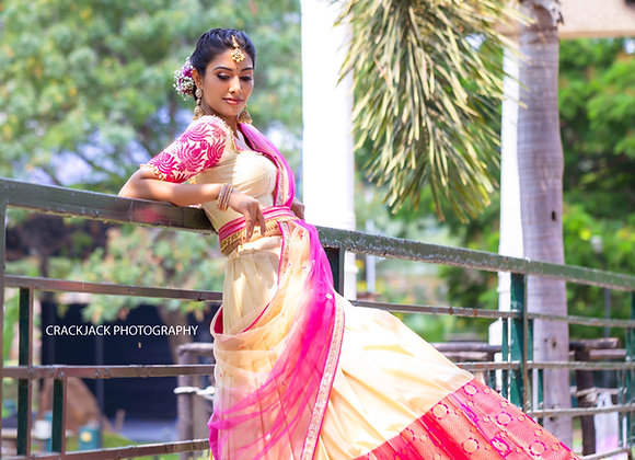 Ivory and pink lehengas