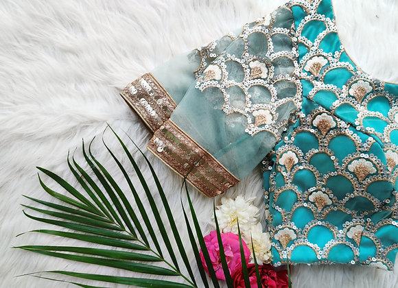 Blue Sequin Blouse