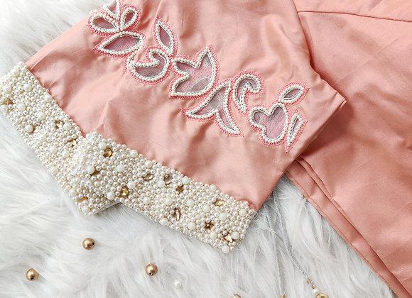Peach Pearl sleeve Blouse