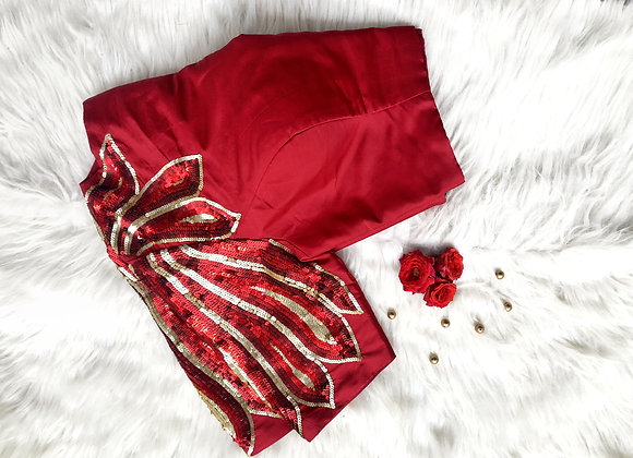 Red Sequin sleeve blouse