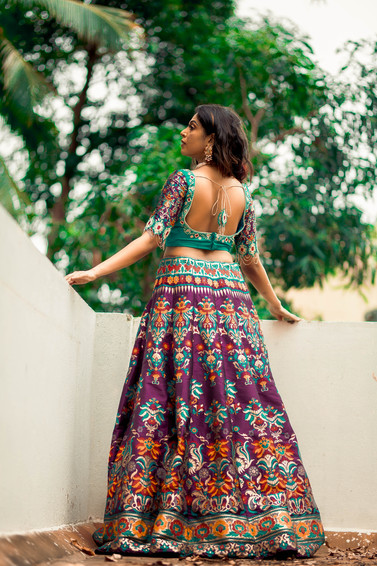 Wine and teal Banaras Lehenga