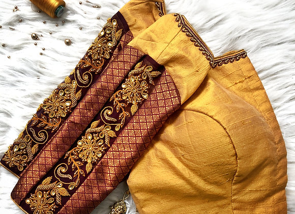 Gold and maroon brocade sleeve blouse