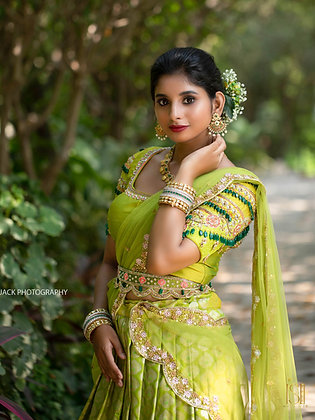 Lime green Kanjeevaram silk lehengas