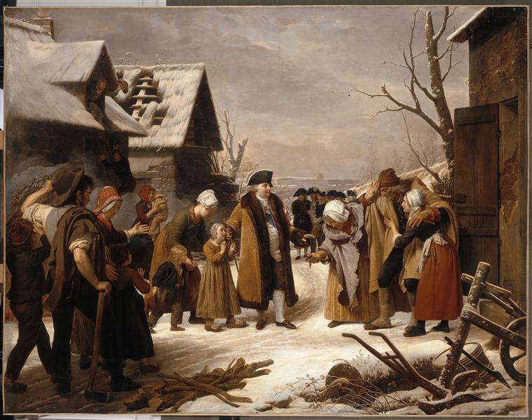 Louis XVI distribuant des aumônes