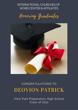 Deovion Patrick 2021 Graduate