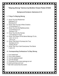 Staying Strong Sermon by Chawn Peete 4-1